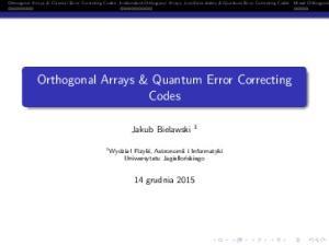 Orthogonal Arrays & Quantum Error Correcting Codes