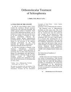 Orthomolecular Treatment of Schizophrenia
