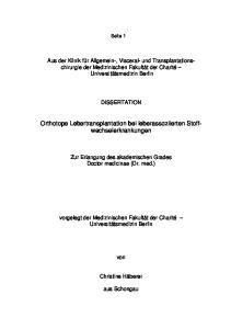 Orthotope Lebertransplantation bei leberassoziierten Stoffwechselerkrankungen
