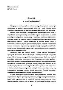 Ortografia w terapii pedagogicznej