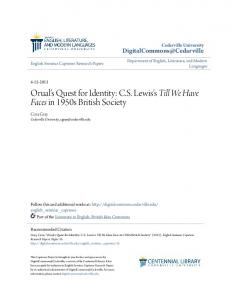 Orual's Quest for Identity: C.S. Lewis's Till We Have Faces in 1950s British Society