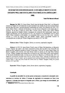 OS DESAFIOS DOS EXPATRIADOS: O ESTABELECIMENTO DO EXESCRAVO WILLIAM DOUGLASS E SUA FAMÍLIA NA LIBÉRIA ( )