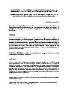 OS PRINCÍPIOS DA PRECAUÇÃO E DA EQUIDADE INTERGERACIONAL NA BIOPROSPECÇÃO DOS CONHECIMENTOS TRADICIONAIS ASSOCIADOS