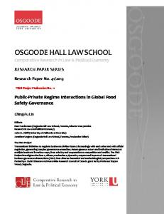OSGOODE HALL LAW SCHOOL Comparative Research in Law & Political Economy