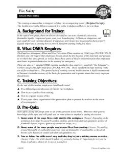 OSHA. Fire Safety. Lesson Plan 4020a