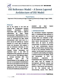 OSI Reference Model A Seven Layered Architecture of OSI Model