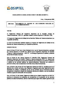 OSIPTEL REGLAMENTO DE CALIDAD DE LOS SERVICIOS PUBLICOS DE TELECOMUNICACIONES