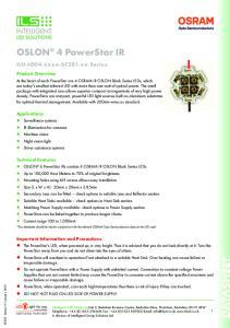 OSLON 4 PowerStar IR. ILH-IO04-xxxx-SC201-xx Series. Product Overview. Applications. Technical Features