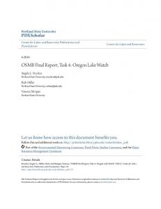 OSMB Final Report, Task 4: Oregon Lake Watch