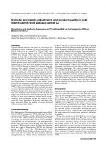 Osmotic and elastic adjustment, and product quality in coldstored carrot roots (Daucus carota L.)