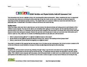 OSNAP Nutrition and Physical Activity Daily Self Assessment Tool
