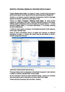 OSNOVNA UPOTREBA PROGRAMA WINDOWS MOVIE MAKER 2