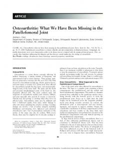 Osteoarthritis: What We Have Been Missing in the Patellofemoral Joint