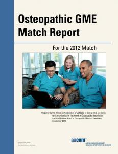 Osteopathic GME Match Report