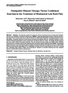 Osteopathic Manual Therapy Versus Traditional Exercises in the Treatment of Mechanical Low Back Pain