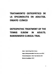 OSTEOPATHIC TREATMENT OF THE TENNIS ELBOW IN ADULTS. RANDOMIZED CLINICAL TRIAL