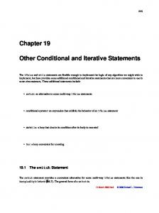 Other Conditional and Iterative Statements