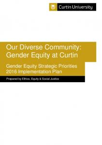 Our Diverse Community: Gender Equity at Curtin