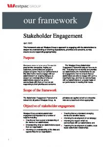 our framework Objective of stakeholder engagement