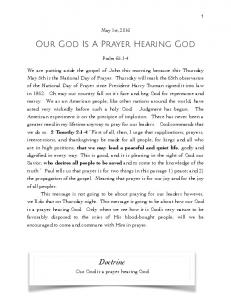 Our God Is A Prayer Hearing God