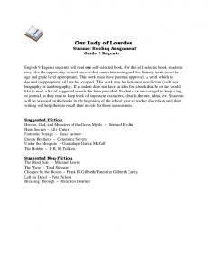 Our Lady of Lourdes Summer Reading Assignment Grade 9 Regents