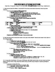 OUR REDEEMER LUTHERAN QUESTIONS Brad Alles Milwaukee Lutheran HS (414) bradalles.com