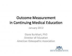 Outcome Measurement in Continuing Medical Education