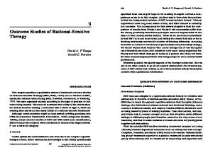 Outcome Studies of Rational-Emotive Therapy