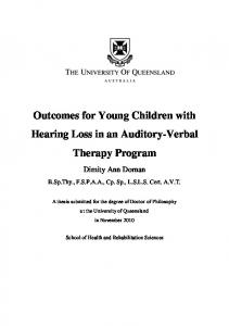 Outcomes for Young Children with Hearing Loss in an Auditory-Verbal Therapy Program
