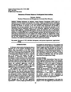 Outcomes of Human Resource Development Interventions
