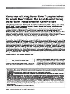 Outcomes of Living Donor Liver Transplantation for Acute Liver Failure: The Adult-to-Adult Living Donor Liver Transplantation Cohort Study