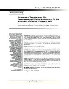 Outcomes of Percutaneous Disc Decompression Utilizing Nucleoplasty for the Treatment of Chronic Discogenic Pain