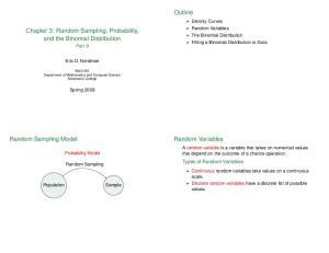 Outline. Chapter 3: Random Sampling, Probability, and the Binomial Distribution. Random Sampling Model. Random Variables. Types of Random Variables