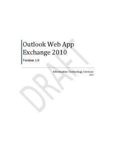 Outlook Web App Exchange 2010