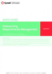 Outsourcing Requirements Management