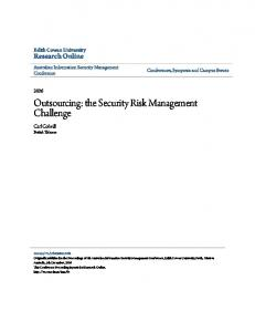 Outsourcing: the Security Risk Management Challenge