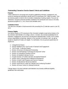 Outstanding Extension Service Award Criteria and Guidelines
