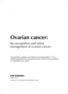 Ovarian cancer: the recognition and initial management of ovarian cancer