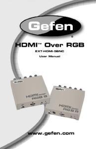 Over RGB HDMI TM.  EXT-HDMI-5BNC. User Manual
