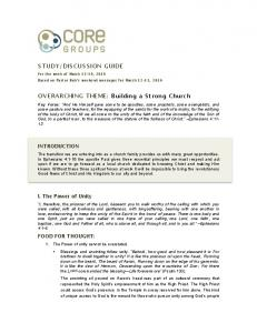 OVERARCHING THEME: Building a Strong Church