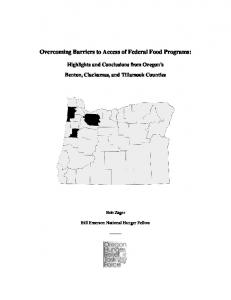 Overcoming Barriers to Access of Federal Food Programs:
