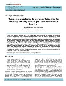 Overcoming obstacles to learning: Guidelines for teaching, learning and support in open distance learning