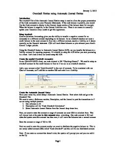 Overdraft Entries using Automatic Journal Entries
