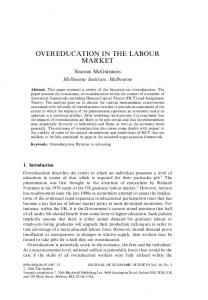 OVEREDUCATION IN THE LABOUR MARKET
