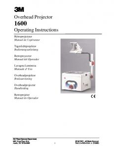 Overhead Projector 1600 Operating Instructions