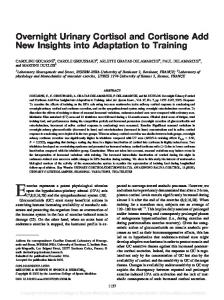 Overnight Urinary Cortisol and Cortisone Add New Insights into Adaptation to Training