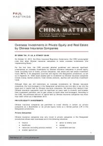 Overseas Investments in Private Equity and Real Estate by Chinese Insurance Companies