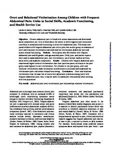 Overt and Relational Victimization Among Children with Frequent Abdominal Pain: Links to Social Skills, Academic Functioning, and Health Service Use