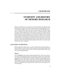 OVERVIEW AND HISTORY OF MEMORY RESEARCH