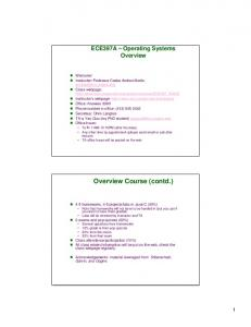 Overview Course (contd.)